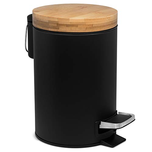 Kazai.® 3l Design Kosmetikeimer | Bambus-Holzdeckel mit Absenkautomatik | Treteimer mit Anti-Fingerabdruck und Komfort-Pedale | Schwarz