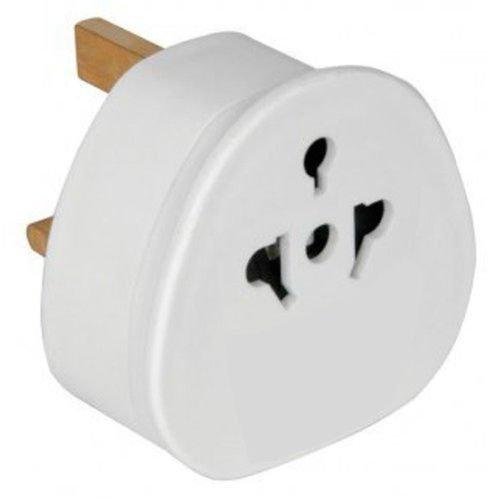 M-K 1X Reiseadapter Adapter Stecker für England - Reisestecker Stromadapter Schuko EU zu UK Steckdose - Travel Plug Schottland Irland in Weiß Reisestecker-Adapter UK-Deutschland In Weiß