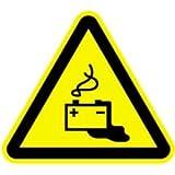 Aufkleber Warnschild Warnung vor Gefahren durch Batterien 10cm sl Folie