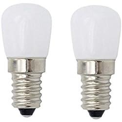 2W LED Refrigerador y Congelador bombillas E14 Luz en la Base Pack de 2 Blanco Cálido 3000K (equivalente de bulbo del halógeno 15-20W)