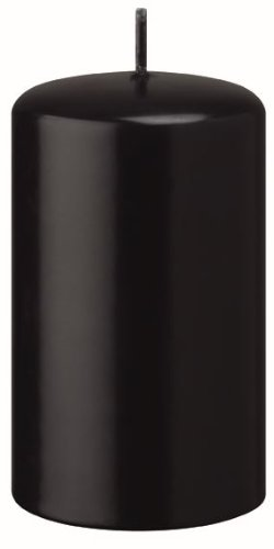 Stumpenkerzen Schwarz 10 x 6 cm, 12 Stück