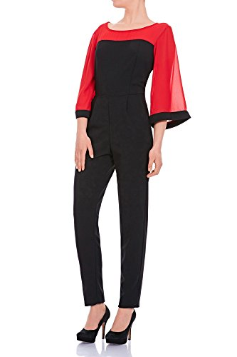 Laeticia Dreams Damen Overall Einteiler Jumpsuit Langarm Kimonoärmel S M L XL Rot