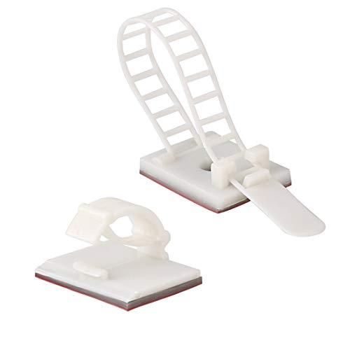 HUI JIN Kabelmanagement-Set Klebeset enthält 25 Kabelclips & 25 Kabelbinder weiß 50 Stück -