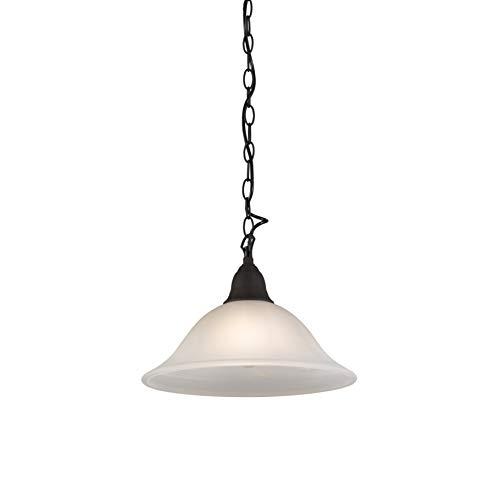 QAZQA Landhaus/Vintage/Rustikal Rustikale Hängelampe mit braunem Glas - Dallas 1 / Innenbeleuchtung/Wohnzimmerlampe/Küche/Metall Rund LED geeignet E27 Max. 1 x 100 Watt