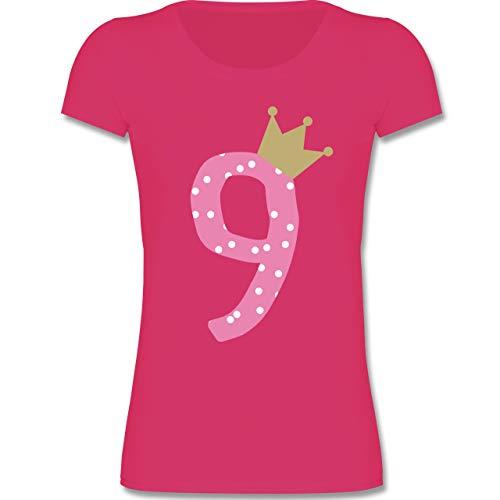 Geburtstag Kind - 9. Geburtstag Krone Mädchen Neunter - 134-146 (9-11 Jahre) - Fuchsia - F288K - Mädchen T-Shirt