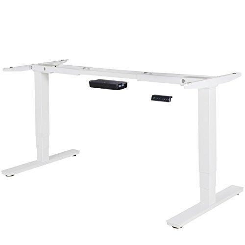 Preisvergleich Produktbild AMSTYLE® elektrisch höhenverstellbares Tischgestell weiß Gestell mit Memory Funktion / Schreibtischgestell stufenlos höhenverstellbar von 63 - 128 cm