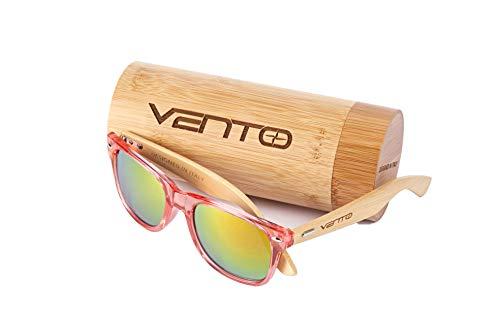 Vento Eyewear® Modelo Chinook RedTwice - Gafas de Sol de Madera de bambú unisex de hombre y mujer, diseñadas en Italia con certificados CE y protección UV400
