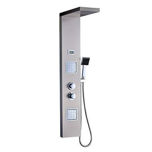 duschpaneele mit thermostat OBEEONR Thermostat Duschpaneel Duschset Edelstahl Duschsystem mit handbrause und Regendusche Duscharmatur