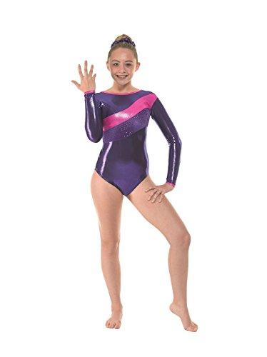 Tappers Pointers Gymnastik-Body Langarm mit passendem Haargummi Sugar Plum Gym 34 Violett violett 3A Age 11-12 years