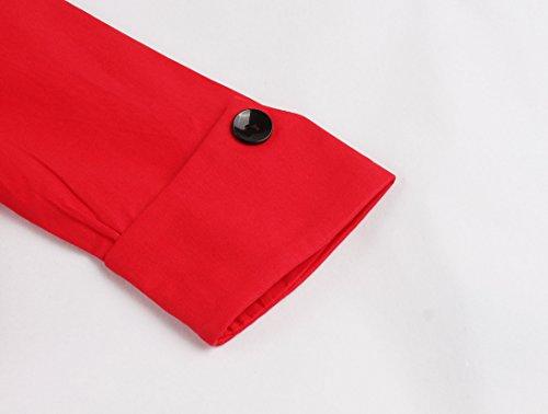 IMUYI Femme Vintage 1950 manches demi Rockabilly Balançoire Party Robe RedFloral1