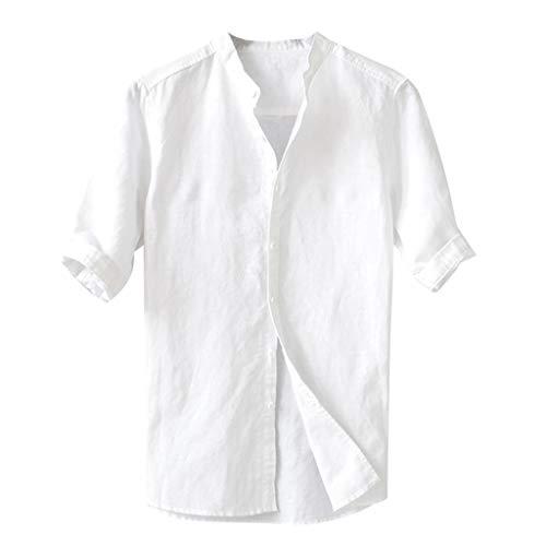 Briskorry Herren Hemd Leinen V-Ausschnitt Kurzarm Button Leinenhemd Sommer Regular Fit Freizeithemd Casual T-Shirt Top -