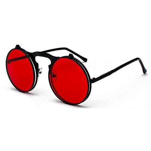 ZHFJGKR&ZL Sonnenbrille Frauen Männer Vintage Flip Up Metall Sonnenbrille Retro Shades Uv400-Schwarz Rot