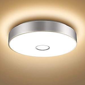 Onforu 18W LED Deckenleuchte Badezimmer, IP65 Wasserdicht Deckenlampe, 1600lm 2700K Warmweiß Küchenlampe, CRI>90 Badezimmerlampe, Mordern Decke Badlampe Lampe für Küche, Schlafzimmer, Wohnzimmer, Bad...