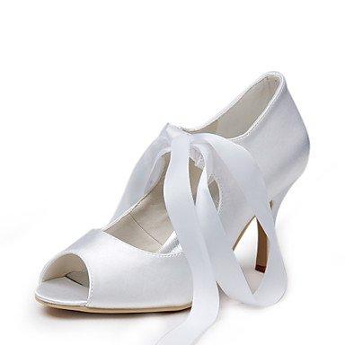 Wuyulunbi@ In Raso Di Gusto Peep Toe Tacco Alto Pompe Con Pizzo-Up Scarpe Matrimonio,Bianco,Us8.5 / Eu39 / Uk6.5 / Cn40 US9 / EU40 / UK7 / CN41