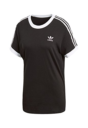 adidas Damen 3 Stripes T-Shirt, Black, 36 (Stripe Shirt Black)