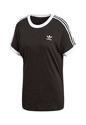 adidas Damen 3 Stripes T-Shirt, Black, 36 (Shirt Stripe Black)