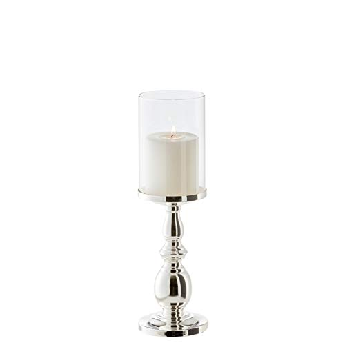 EDZARD Kerzenleuchter, Windlicht Mascha, Höhe 34 cm, edel versilbert, anlaufgeschützt, für Kerzen bis ø 10 cm