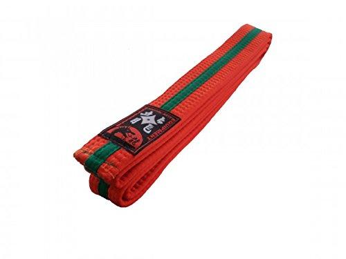 Karategürtel orange, grüner Mittelstreifen Judogürtel Taekwondogürtel