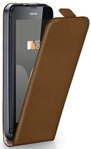 MoEx® Flip Case mit Magnetverschluss [Rundum-Schutz] passend für Nokia Lumia 630 | 360° Handycover aus feinem Premium Kunst-Leder, Sattel-Braun