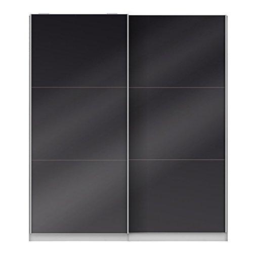 Tousmesmeubles Armoire Dressing Noir Brillant - Joyce - L 201 x l 61 x H 232 - Neuf