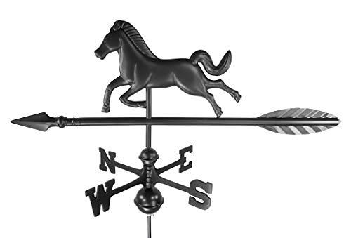 Dalvento 201B Wetterfahne für Pferde, Aluminium, mit traditionellen Richtungen und Kugeln, klein, Schwarz