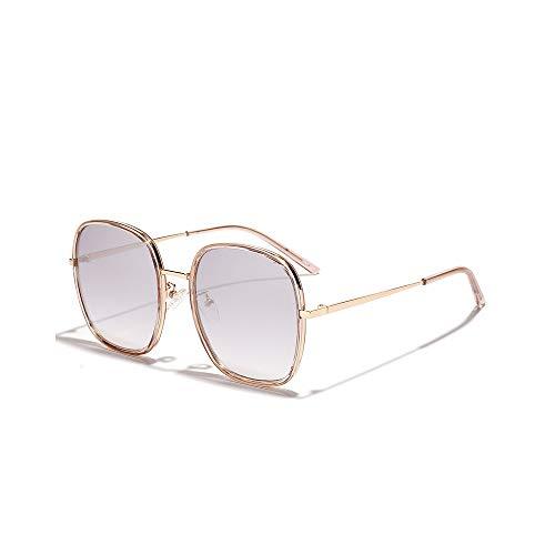 WJFDSGYG Mode Oval Übergroße Sonnenbrille Womens Mirror Glasses Metallrahmen Reflektierende Sonnenbrille Damen
