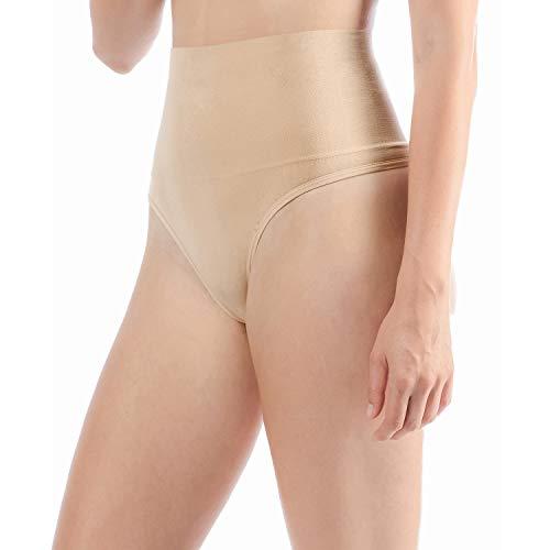 Libella 2er Pack Damen Hohe Taille Miederslip Shapewear Bauch Kontrolle String Tanga Figurformende Miederhose Unterwäsche 3612 Beige L/XL - 3