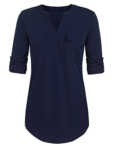Parabler Damen Bluse Chiffon V-Ausschnitt Langarm Shirt Locker Freizeit Langarmbluse Blusenshirt Tunika Oberteil Tops Blau S