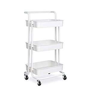 alvorog Servierwagen Küchenwagen Rollwagen Allzweckwagen Roll Regal für Küche Bad Büro mit Rollen 3 Etagen Weiß