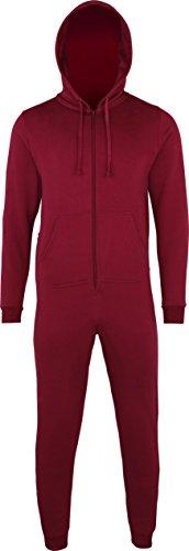 Nouvelle combinaison d'hiver pour homme, femme et confortable à capuche tout-en-un pyjama combinaison de sport Rouge - Bordeaux