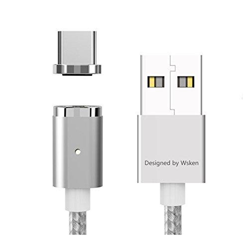 WSKEN Mini 2 Magnetic Typ C Kabel Nylon Geflochten USB C Schnelles Aufladen Daten Synchronisierungskabel Kabel für Samsung Galaxy S9/S8,Note 8,Nexus 5X/6P,HTC,Huawei P9,Huawei Mate 9 mehr (1m/Silber)