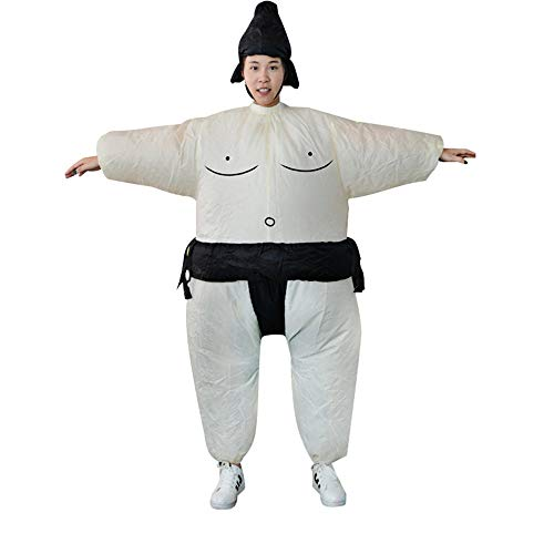 Suit Womens Fat Kostüm - JesseBro Inflatable Sumo Dress Fat Man and Woman Suite Fat Masked Suit Blow Up Dress White&Black