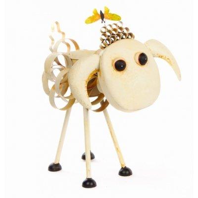 Mouton décoratif en métal pour décoration de jardin avec fleurs