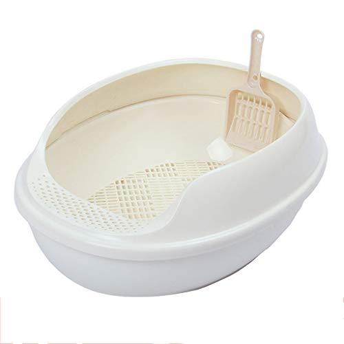 MTCWD Katzentoilette/Haustiere Katze Wurf Tablett/Sichtung Toilette Box Hoch Seitig Rand Schwenken Klo Halb Geschlossen (Color : White, Size : 50 * 38 * 20cm) -