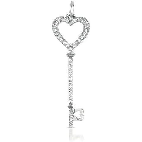 Ciondolo a forma di chiave in oro bianco 14ct .375DWT diamante 46mm