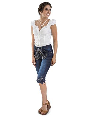 Damen Capri Trachtenjeans - Damen Lederhose Jeans Stretch - Schöneberger Lederhosen Oktoberfest Jeans (30)