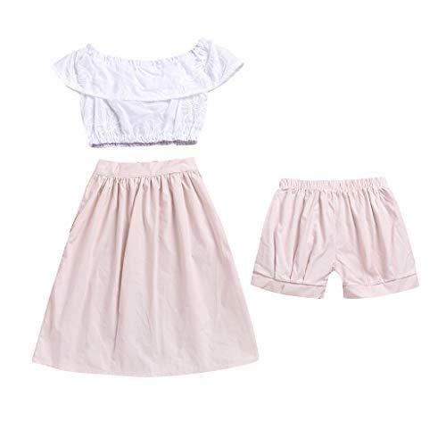 Yanhoo-Kinder Baby Body Kinderkleidung Jungen Mädchen, Baby Jungen Solide Rüschen Tops Shorts Röcke Outfit Kleidung Sommer Kinder Ärmellos Rüschenkragen 3 Stück