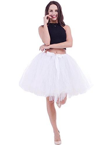 FOLOBE Frauen handgemachtes geschwollenes Tutu Tulle Rock 50CM / 19.7in (Weiß Korsett Tutu Erwachsene Kostüme Kleid)