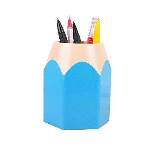 tenspeicher Bleistift Topf Pen Halter Makeup Pinsel Tasche Organisatoren Desk-Container (10.5x7.5cm, Blau) (Kinder-kunststoff-tabelle)