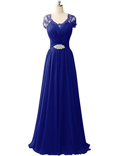 HUINI Spit ?rmel V-Ausschnitt Chiffon Prom Abendkleider Hochzeit Formale Partei Kleider Königsblau
