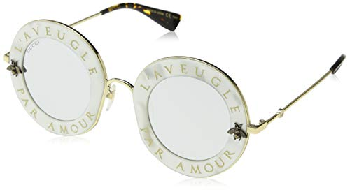 Gucci Damen GG0113S 003 Sonnenbrille, Weiß (White/Silver), 44