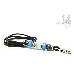 Exclusives Pfeifenband aus Echtleder 48 – schwarz/blautürkis