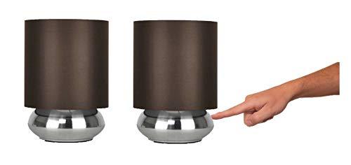 PAIRE - Deux Lampes de Table, Chevet, à Poser. Design Moderne. Variateur Touch Intégré. Oignon Plat en Nickel avec Abat-Jours en Tissu Marron
