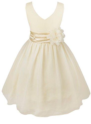 Tiaobug Kinder Mädchen Kleid Festlich Blumen-mädchen Chiffon Kleid Prinzessin Party Kleid Hochzeit Festzug 92-164 Cream 92 (Mädchen Unterhemd Tutu Kleid)