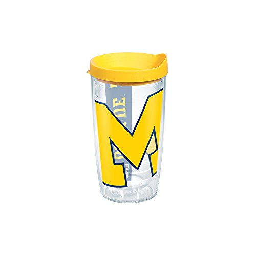 Tervis 1093394 Michigan University Colossal Wrap Individual Tumbler with Yellow lid, 16 oz, Clear by Tervis Tervis Tumbler Michigan
