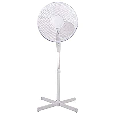 CONNECT Electrical 16-Inch Oscillating Pedestal Stand Fan, White, 3 Speed,Cooling Fan