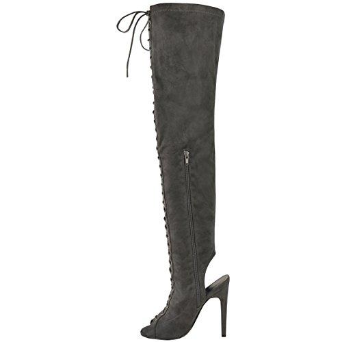 sexy, da donna SOPRA AL GINOCCHIO ADERENTI, alti con lacci a spillo Tacchi Stivali numero grigio camoscio