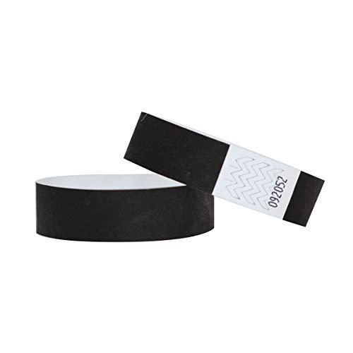 Confezione di 100braccialetti in carta Tyvek, 19mm, per eventi, festival,indistruttibili e personalizzabili,12colori disponibili 19mm Nero