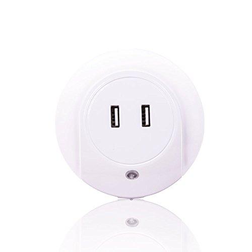 EETCK Nachtlampe LED Intelligente optische Steuersensor Kinder Nachtorientierungslicht 2 USB Ports Lade Geeignet für Wohnzimmer/Schlafzimmer/Babyzimmer
