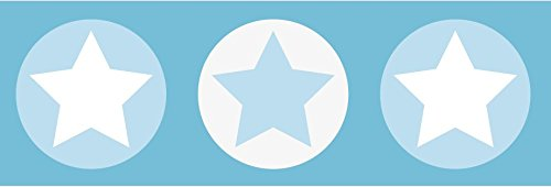 lovely label Bordüre selbstklebend STERNE GRAU/BLAU - Wandbordüre Kinderzimmer / Babyzimmer mit Sternen in versch. Farben - Wandtattoo...